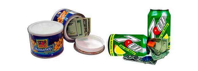 Cajas Camufladas con forma de latas de comida y refrescos