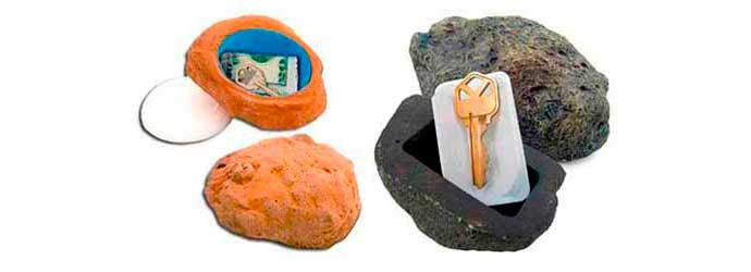 Caja camuflada con forma de piedra