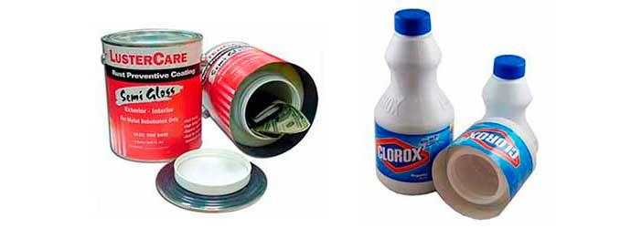 Cajas Camufladas con forma de lata de pintura o productos de limpieza